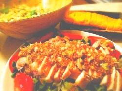 レンジ蒸し鶏のナッツソースがけ(20分以下)